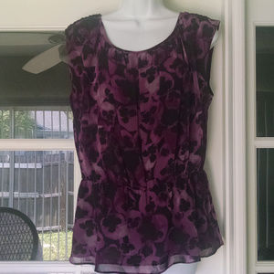 Lauren Conrad Purple Sleeveless  Peplum Large